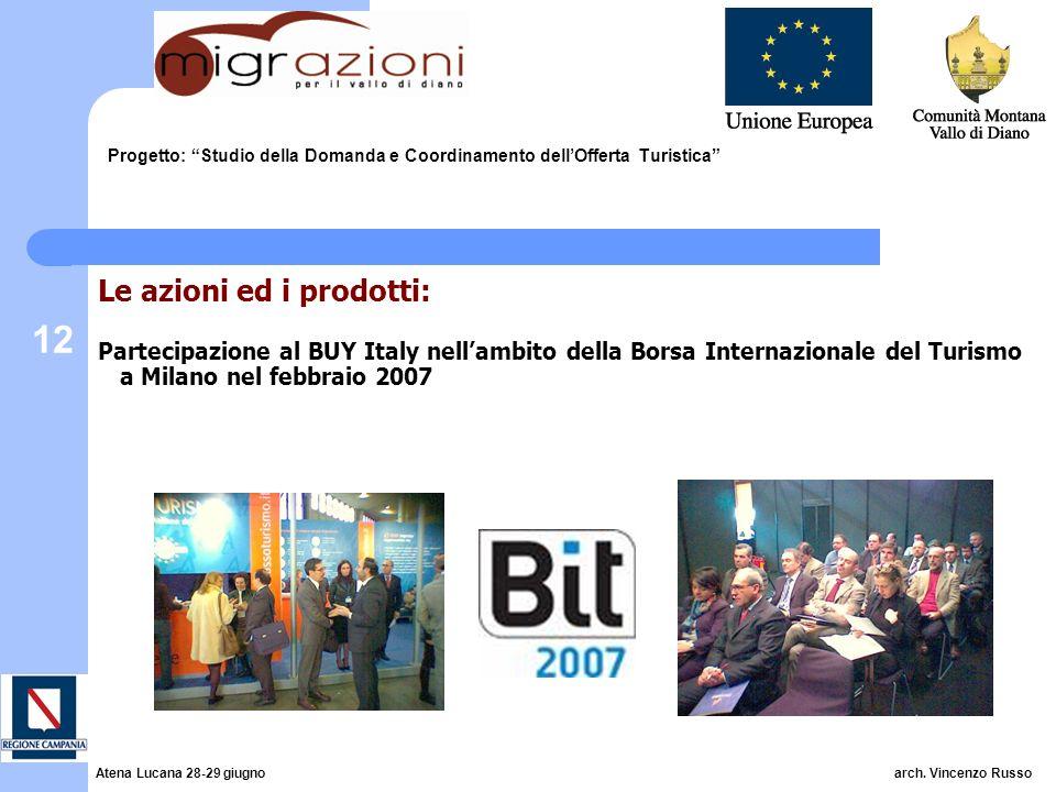 12 Progetto: Studio della Domanda e Coordinamento dellOfferta Turistica Le azioni ed i prodotti: Partecipazione al BUY Italy nellambito della Borsa Internazionale del Turismo a Milano nel febbraio 2007 Atena Lucana 28-29 giugno arch.