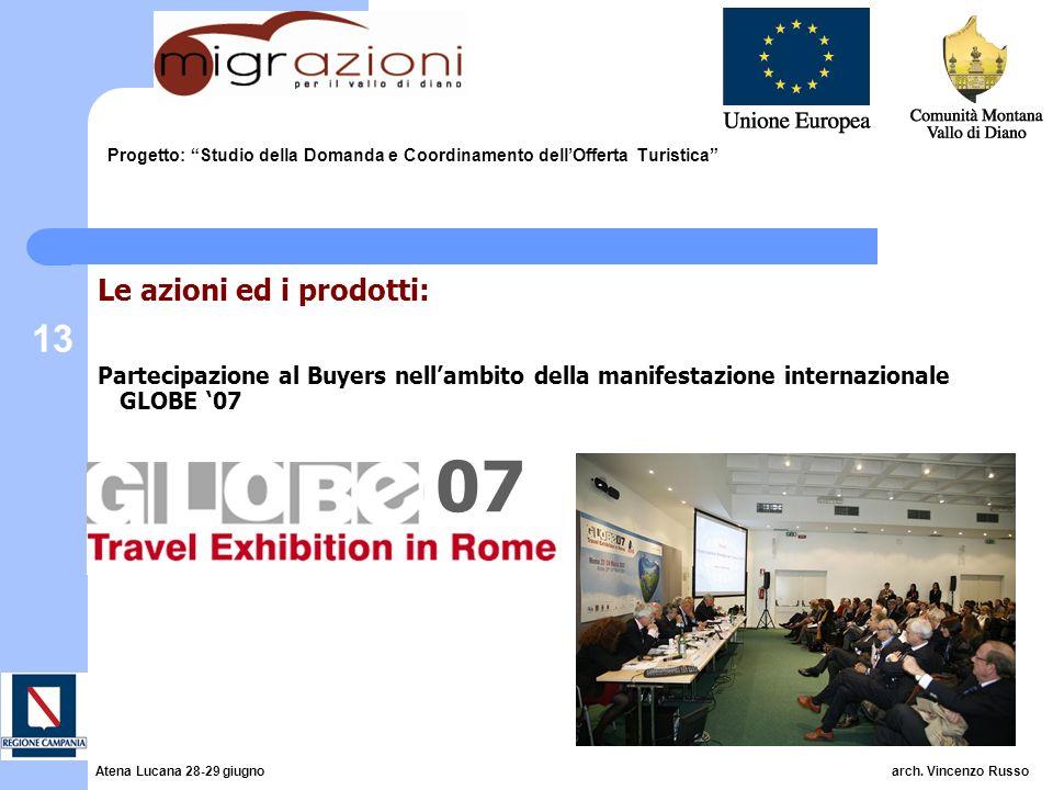 13 Progetto: Studio della Domanda e Coordinamento dellOfferta Turistica Le azioni ed i prodotti: Partecipazione al Buyers nellambito della manifestazi