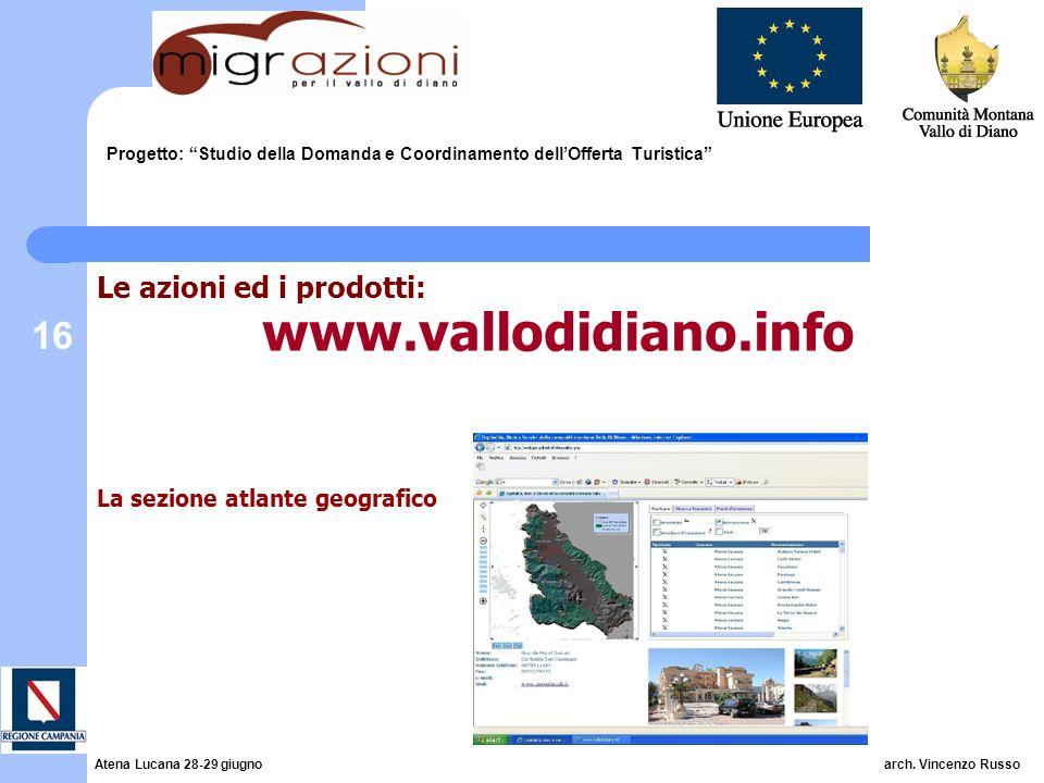 16 Progetto: Studio della Domanda e Coordinamento dellOfferta Turistica Le azioni ed i prodotti: www.vallodidiano.info La sezione atlante geografico A