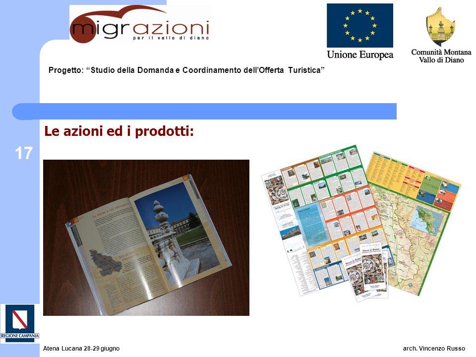 17 Progetto: Studio della Domanda e Coordinamento dellOfferta Turistica Le azioni ed i prodotti: Atena Lucana 28-29 giugno arch. Vincenzo Russo