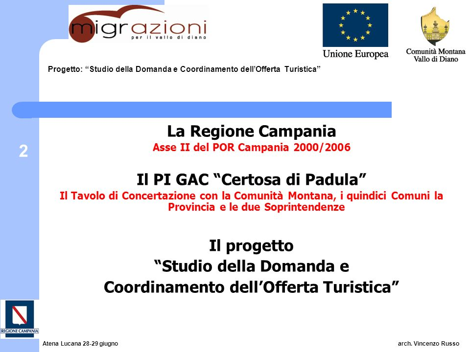 2 Progetto: Studio della Domanda e Coordinamento dellOfferta Turistica La Regione Campania Asse II del POR Campania 2000/2006 Il PI GAC Certosa di Pad