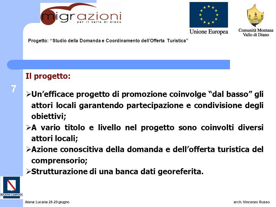 7 Progetto: Studio della Domanda e Coordinamento dellOfferta Turistica Il progetto: Unefficace progetto di promozione coinvolge dal basso gli attori l