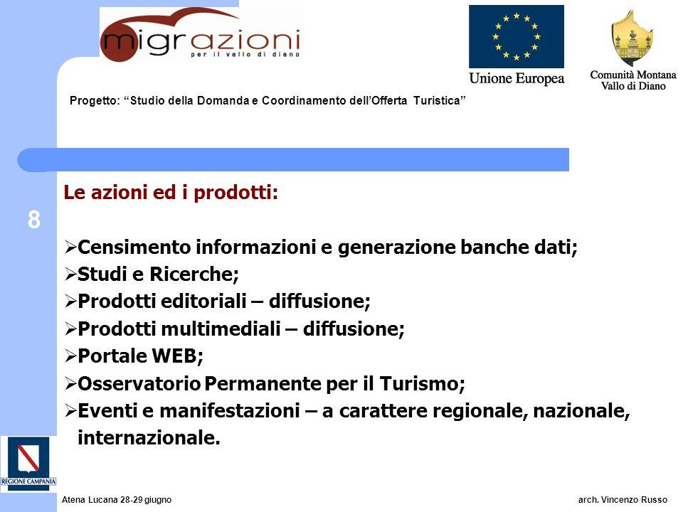 8 Progetto: Studio della Domanda e Coordinamento dellOfferta Turistica Le azioni ed i prodotti: Censimento informazioni e generazione banche dati; Stu