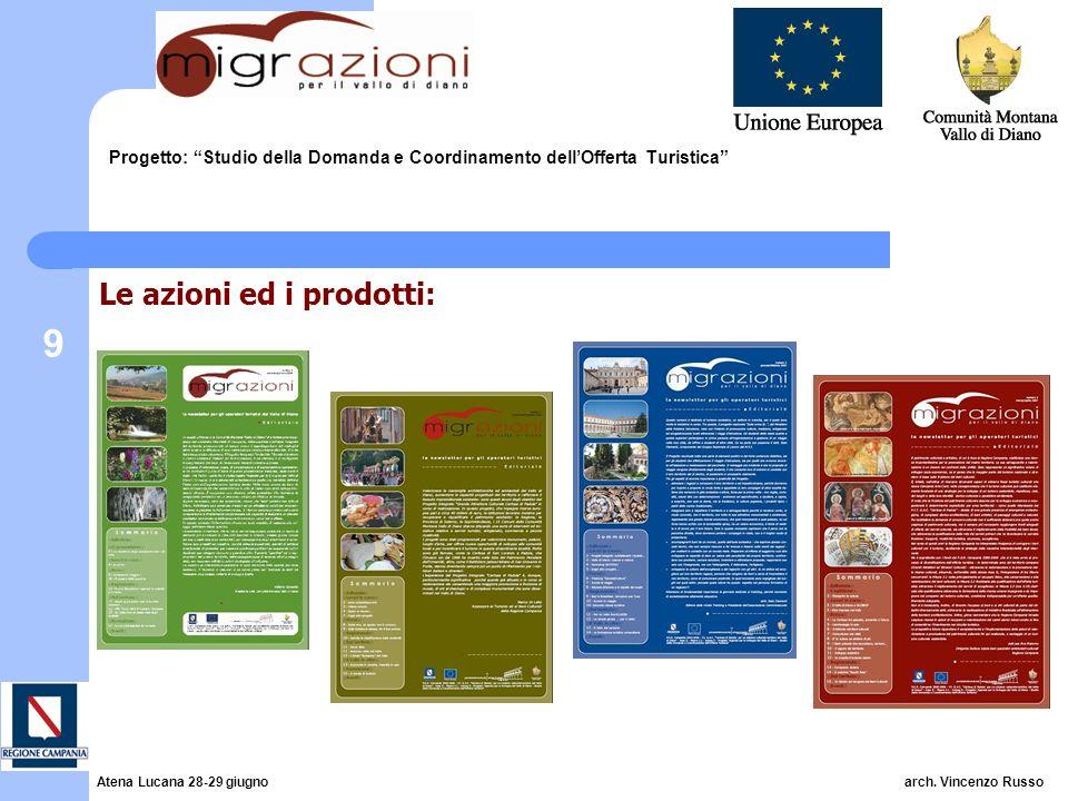 9 Progetto: Studio della Domanda e Coordinamento dellOfferta Turistica Le azioni ed i prodotti: Atena Lucana 28-29 giugno arch. Vincenzo Russo