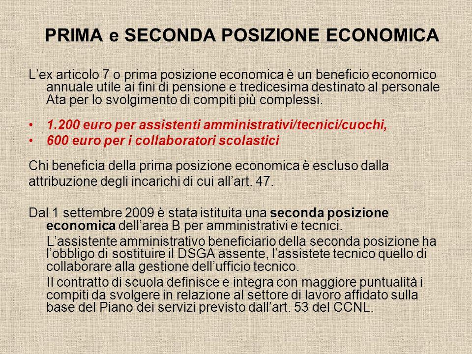PRIMA e SECONDA POSIZIONE ECONOMICA Lex articolo 7 o prima posizione economica è un beneficio economico annuale utile ai fini di pensione e tredicesim