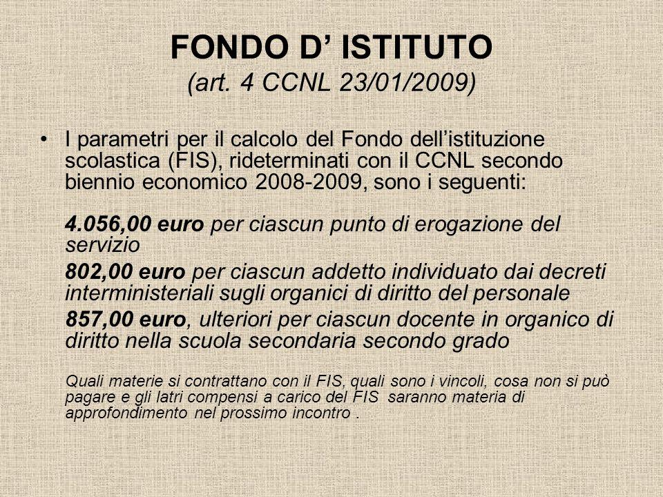 FONDO D ISTITUTO (art. 4 CCNL 23/01/2009) I parametri per il calcolo del Fondo dellistituzione scolastica (FIS), rideterminati con il CCNL secondo bie