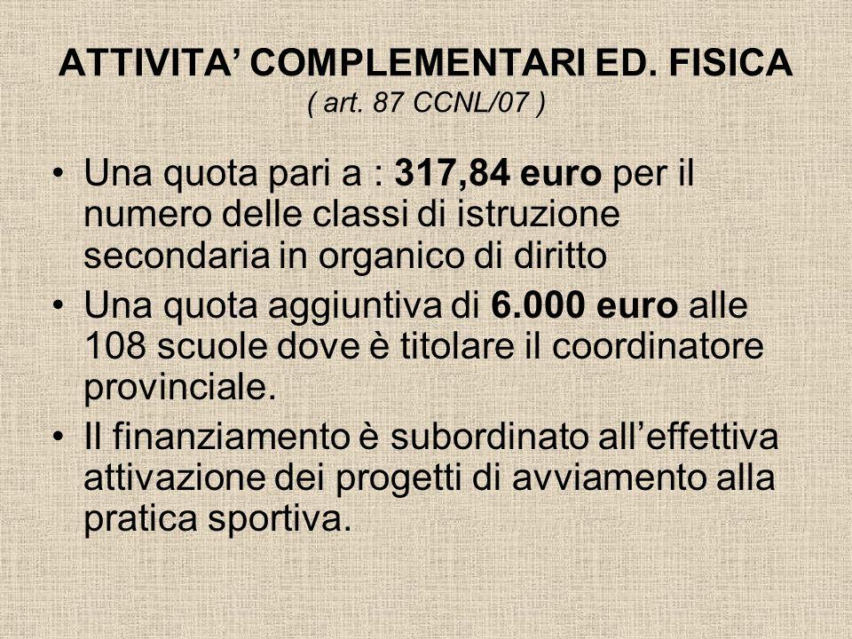 ATTIVITA COMPLEMENTARI ED. FISICA ( art. 87 CCNL/07 ) Una quota pari a : 317,84 euro per il numero delle classi di istruzione secondaria in organico d