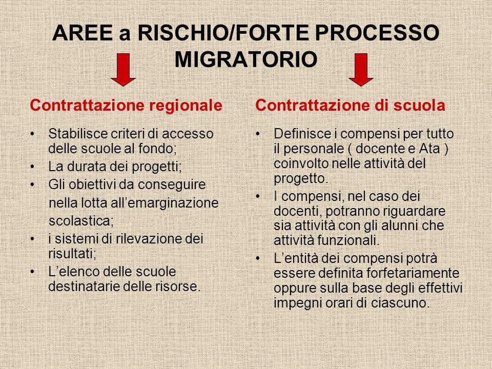 AREE a RISCHIO/FORTE PROCESSO MIGRATORIO Contrattazione regionale Stabilisce criteri di accesso delle scuole al fondo; La durata dei progetti; Gli obi