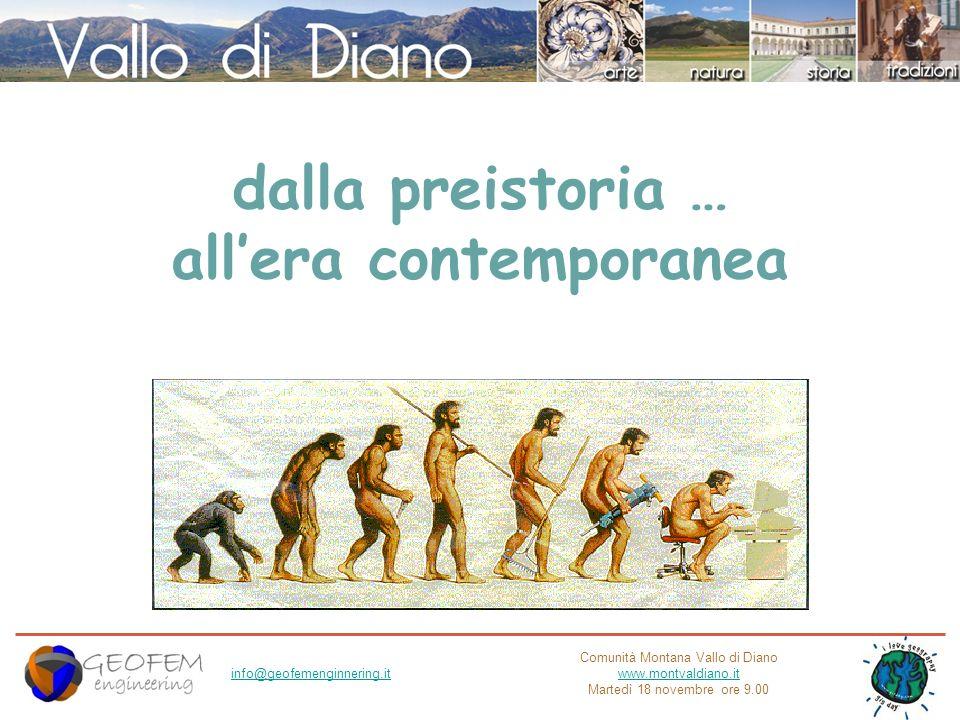 Comunità Montana Vallo di Diano www.montvaldiano.it Martedì 18 novembre ore 9.00 info@geofemenginnering.it dalla preistoria … allera contemporanea