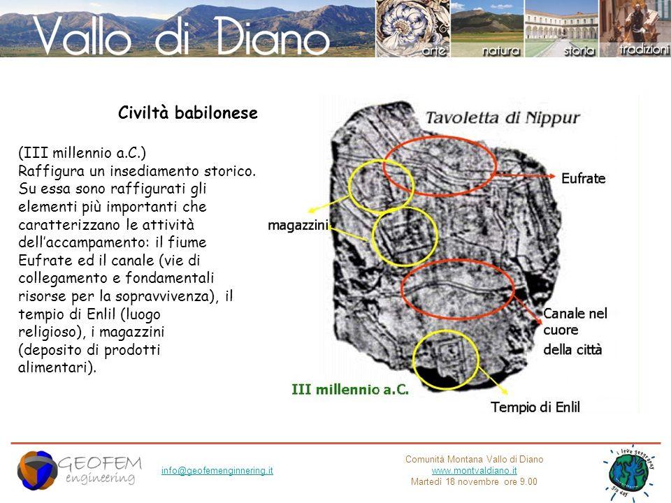 Comunità Montana Vallo di Diano www.montvaldiano.it Martedì 18 novembre ore 9.00 info@geofemenginnering.it Civiltà babilonese (III millennio a.C.) Raf