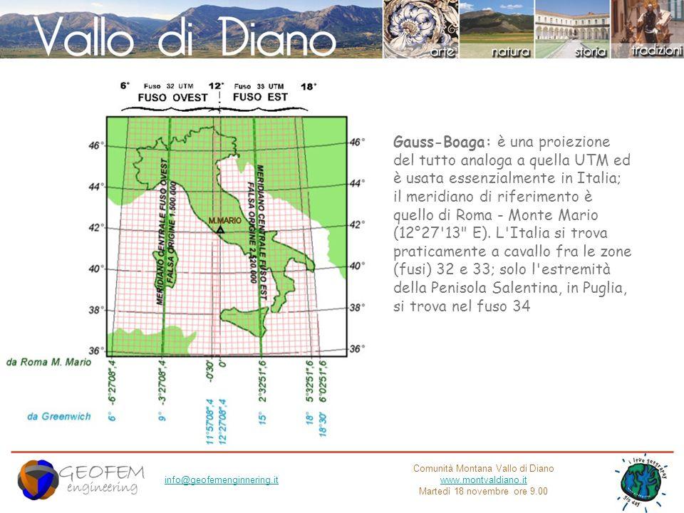 Comunità Montana Vallo di Diano www.montvaldiano.it Martedì 18 novembre ore 9.00 info@geofemenginnering.it Gauss-Boaga: è una proiezione del tutto ana