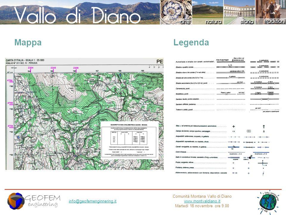 Comunità Montana Vallo di Diano www.montvaldiano.it Martedì 18 novembre ore 9.00 info@geofemenginnering.it Legenda Mappa