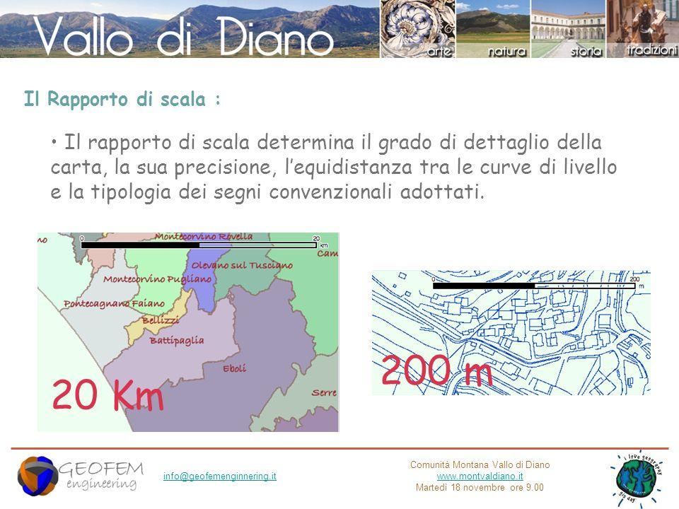 Comunità Montana Vallo di Diano www.montvaldiano.it Martedì 18 novembre ore 9.00 info@geofemenginnering.it Il Rapporto di scala : Il rapporto di scala