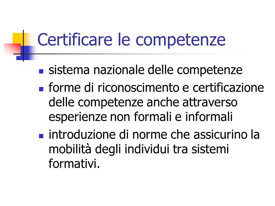 Certificare le competenze sistema nazionale delle competenze forme di riconoscimento e certificazione delle competenze anche attraverso esperienze non formali e informali introduzione di norme che assicurino la mobilità degli individui tra sistemi formativi.