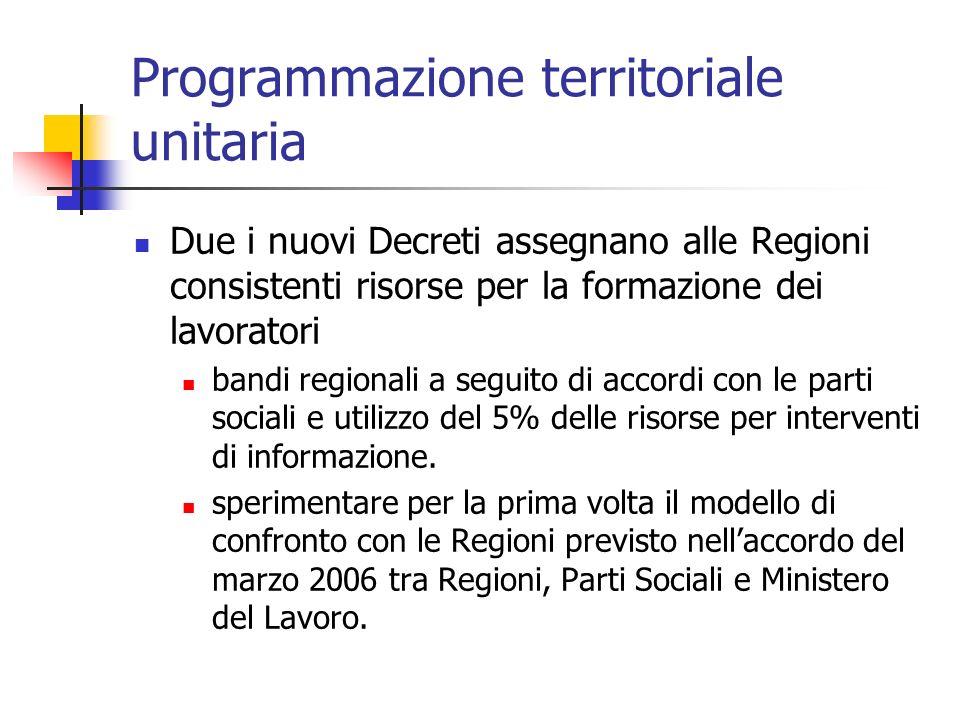Programmazione territoriale unitaria Due i nuovi Decreti assegnano alle Regioni consistenti risorse per la formazione dei lavoratori bandi regionali a seguito di accordi con le parti sociali e utilizzo del 5% delle risorse per interventi di informazione.