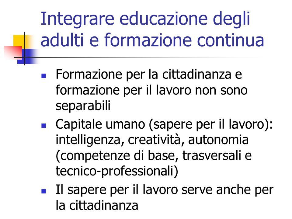 Integrare educazione degli adulti e formazione continua Formazione per la cittadinanza e formazione per il lavoro non sono separabili Capitale umano (