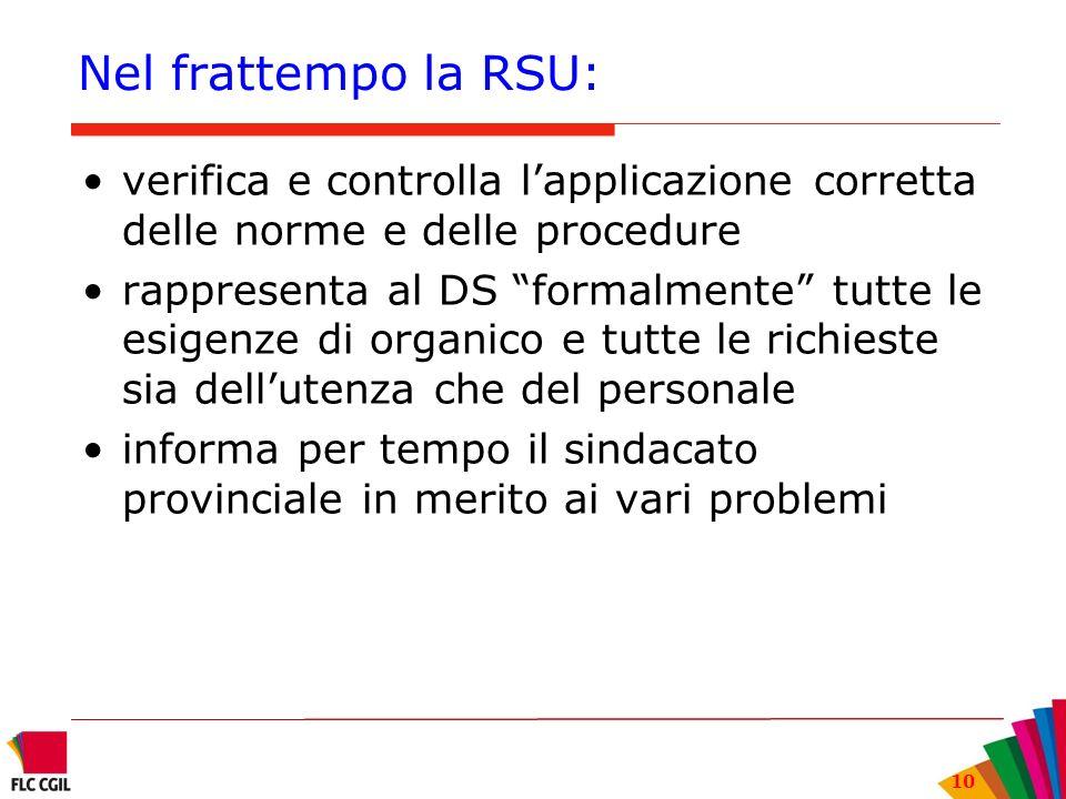 10 Nel frattempo la RSU: verifica e controlla lapplicazione corretta delle norme e delle procedure rappresenta al DS formalmente tutte le esigenze di