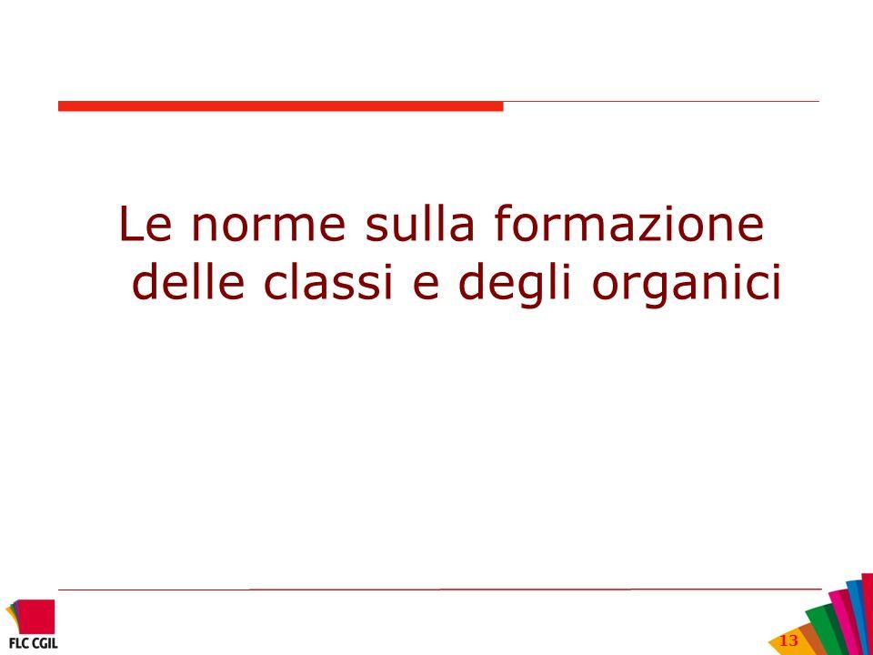 13 Le norme sulla formazione delle classi e degli organici