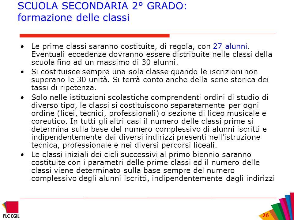 26 SCUOLA SECONDARIA 2° GRADO: formazione delle classi Le prime classi saranno costituite, di regola, con 27 alunni. Eventuali eccedenze dovranno esse