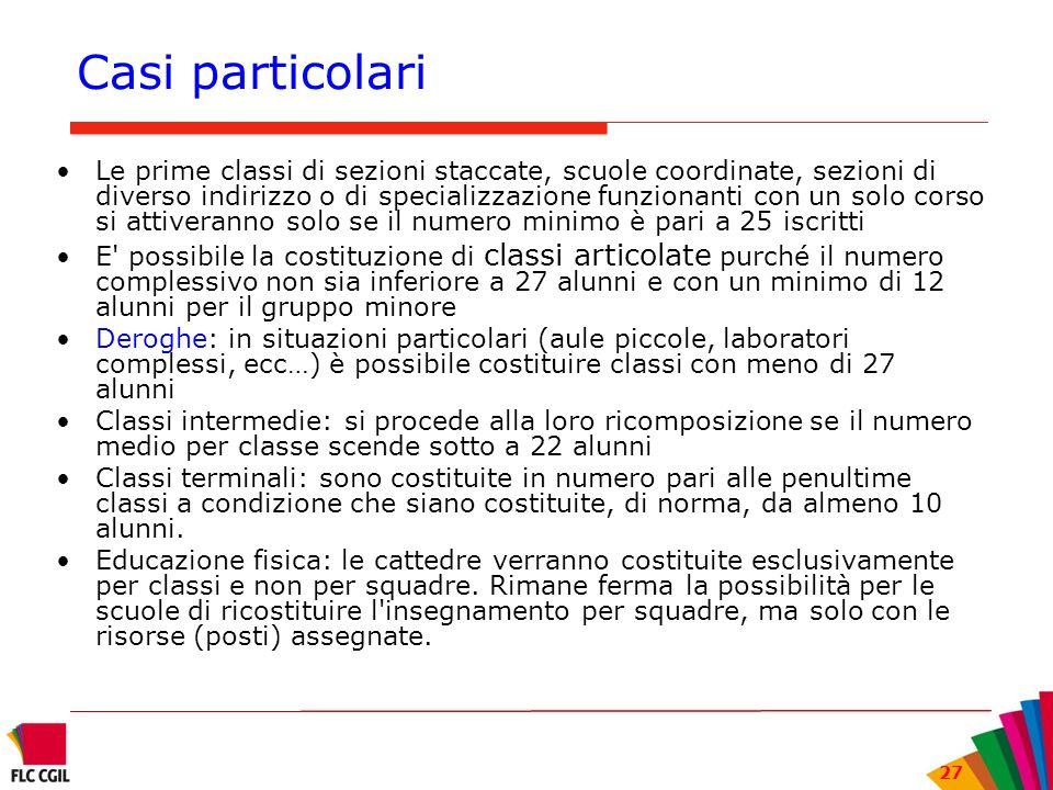 27 Casi particolari Le prime classi di sezioni staccate, scuole coordinate, sezioni di diverso indirizzo o di specializzazione funzionanti con un solo