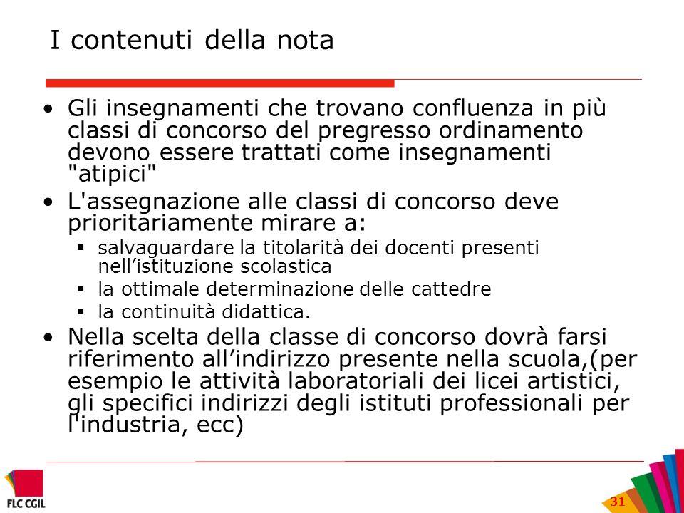 31 I contenuti della nota Gli insegnamenti che trovano confluenza in più classi di concorso del pregresso ordinamento devono essere trattati come inse
