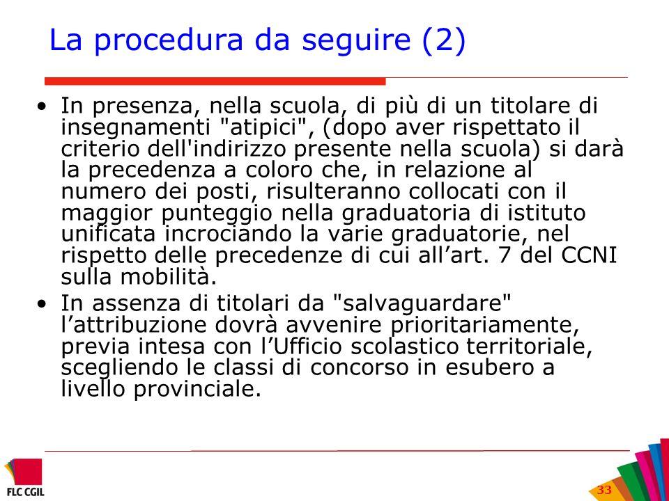 33 La procedura da seguire (2) In presenza, nella scuola, di più di un titolare di insegnamenti