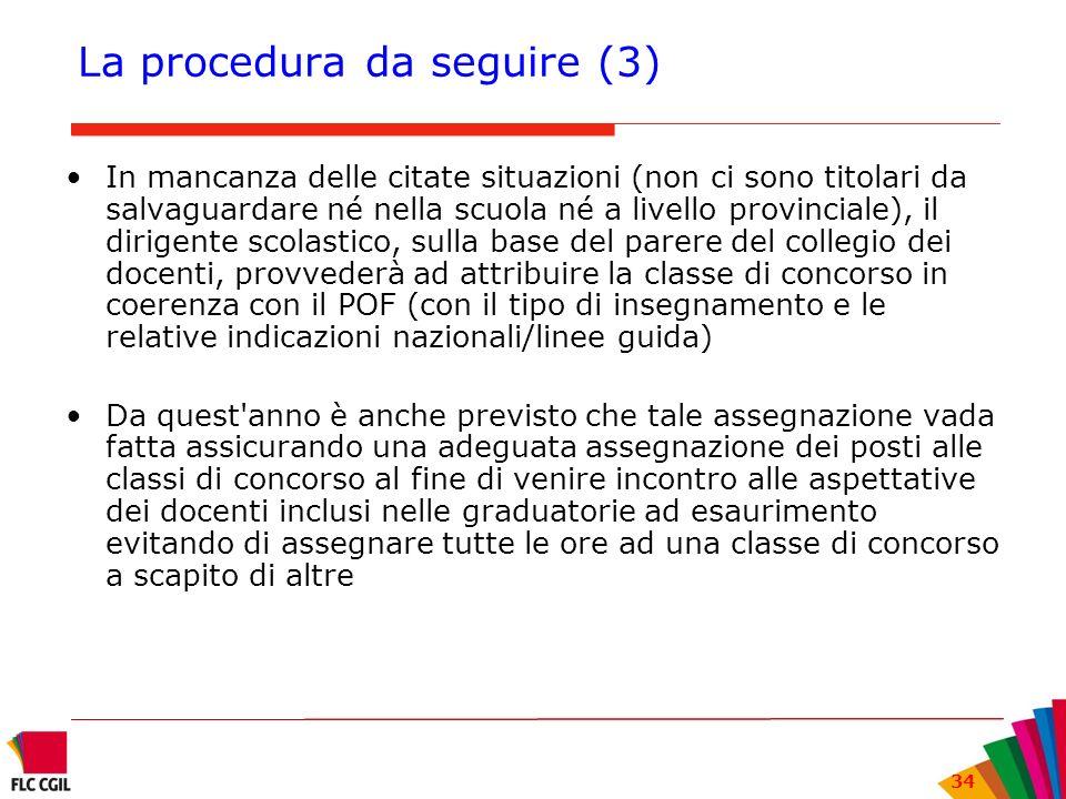 34 La procedura da seguire (3) In mancanza delle citate situazioni (non ci sono titolari da salvaguardare né nella scuola né a livello provinciale), i