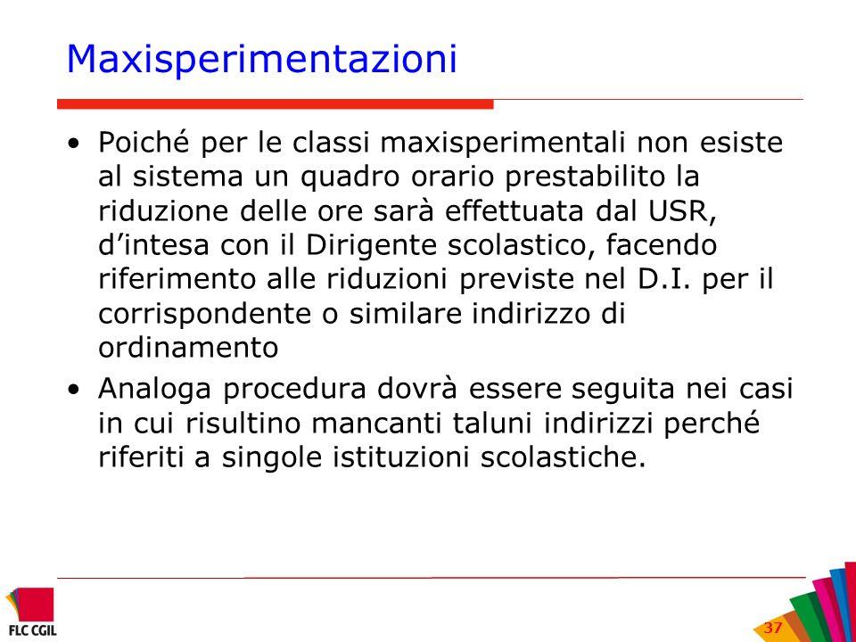 37 Maxisperimentazioni Poiché per le classi maxisperimentali non esiste al sistema un quadro orario prestabilito la riduzione delle ore sarà effettuat