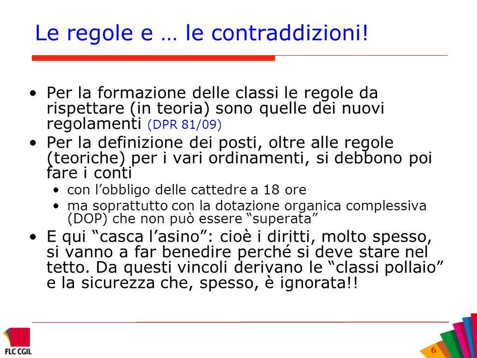 6 Le regole e … le contraddizioni! Per la formazione delle classi le regole da rispettare (in teoria) sono quelle dei nuovi regolamenti (DPR 81/09) Pe