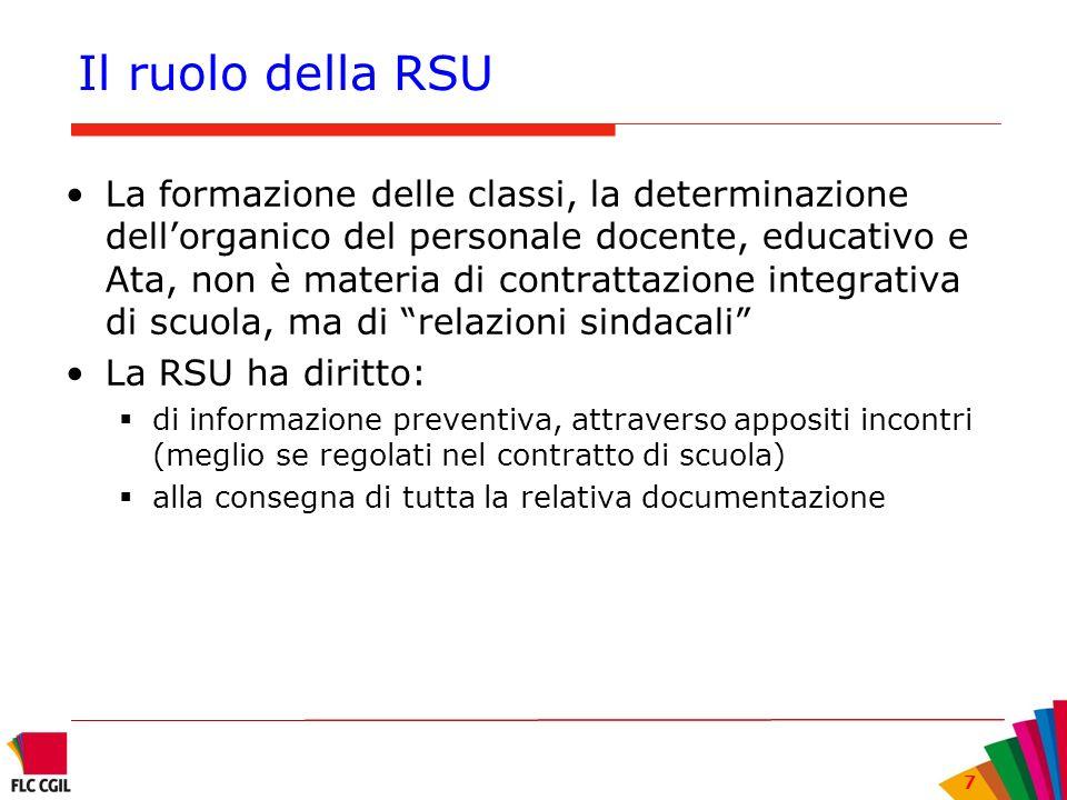7 Il ruolo della RSU La formazione delle classi, la determinazione dellorganico del personale docente, educativo e Ata, non è materia di contrattazion