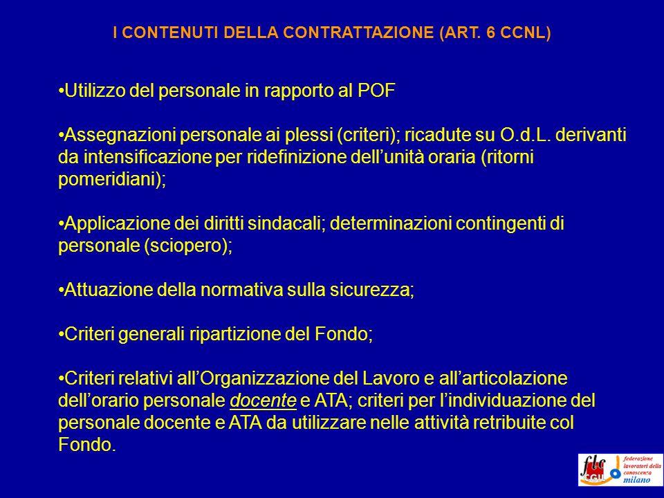Utilizzo del personale in rapporto al POF Assegnazioni personale ai plessi (criteri); ricadute su O.d.L.