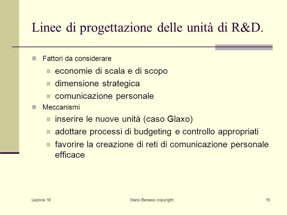 Lezione 10 Mario Benassi copyright15 Linee di progettazione delle unità di R&D. Fattori da considerare economie di scala e di scopo dimensione strateg