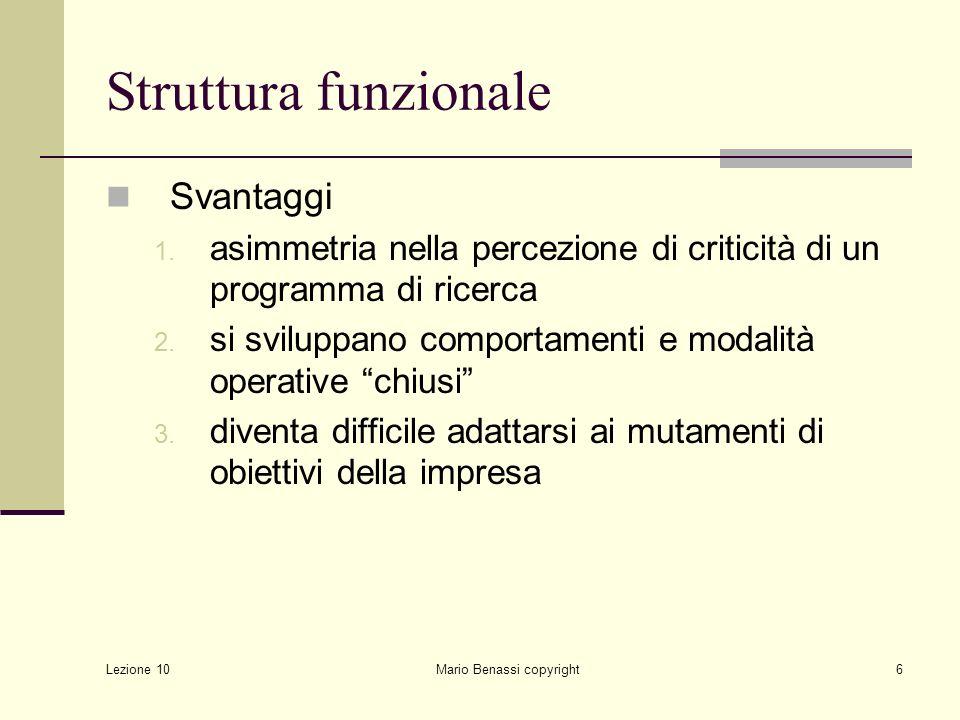 Lezione 10 Mario Benassi copyright7 Struttura funzionale realizzata in relazione al ciclo di R&D