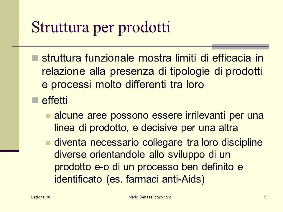 Lezione 10 Mario Benassi copyright10 Struttura per prodotti