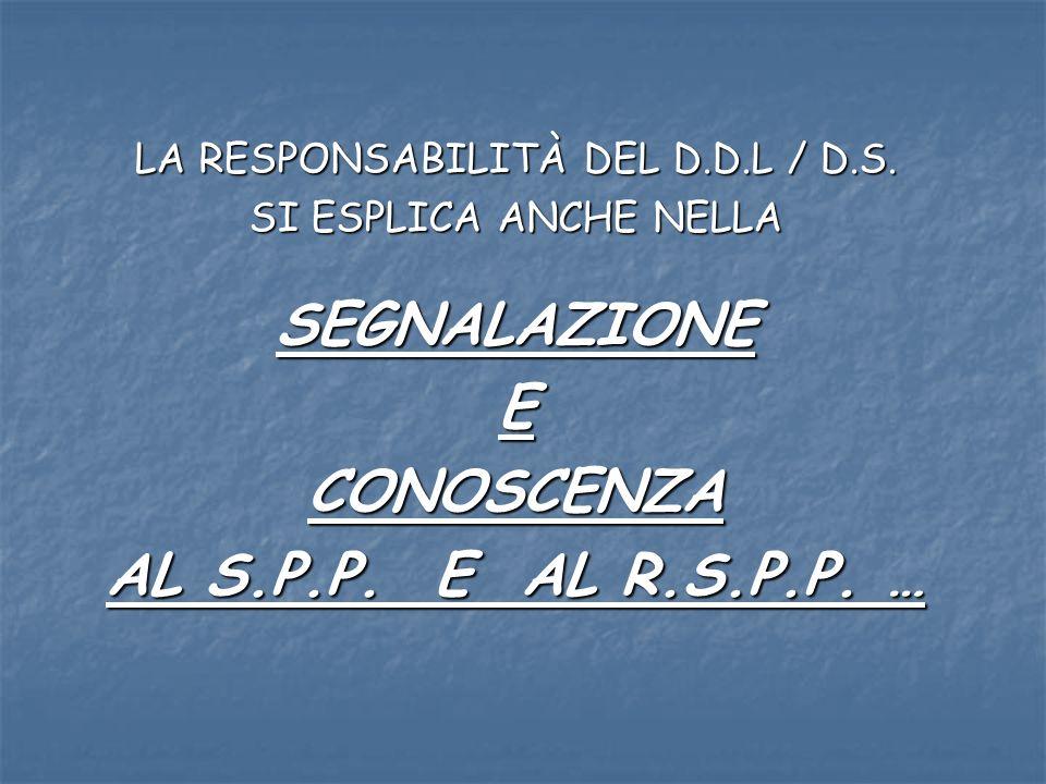LA RESPONSABILITÀ DEL D.D.L / D.S. SI ESPLICA ANCHE NELLA SEGNALAZIONEECONOSCENZA AL S.P.P.