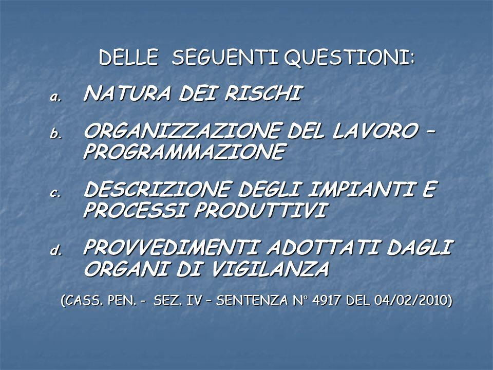DELLE SEGUENTI QUESTIONI: a. NATURA DEI RISCHI b.