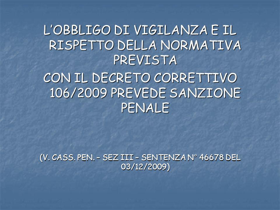 LOBBLIGO DI VIGILANZA E IL RISPETTO DELLA NORMATIVA PREVISTA CON IL DECRETO CORRETTIVO 106/2009 PREVEDE SANZIONE PENALE (V. CASS. PEN. – SEZ III – SEN