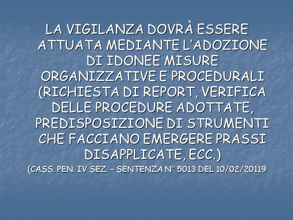 LA VIGILANZA DOVRÀ ESSERE ATTUATA MEDIANTE LADOZIONE DI IDONEE MISURE ORGANIZZATIVE E PROCEDURALI (RICHIESTA DI REPORT, VERIFICA DELLE PROCEDURE ADOTTATE, PREDISPOSIZIONE DI STRUMENTI CHE FACCIANO EMERGERE PRASSI DISAPPLICATE, ECC.) (CASS.