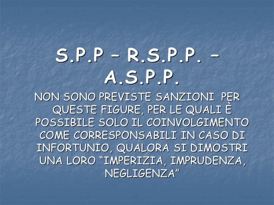 S.P.P – R.S.P.P. – A.S.P.P. NON SONO PREVISTE SANZIONI PER QUESTE FIGURE, PER LE QUALI È POSSIBILE SOLO IL COINVOLGIMENTO COME CORRESPONSABILI IN CASO