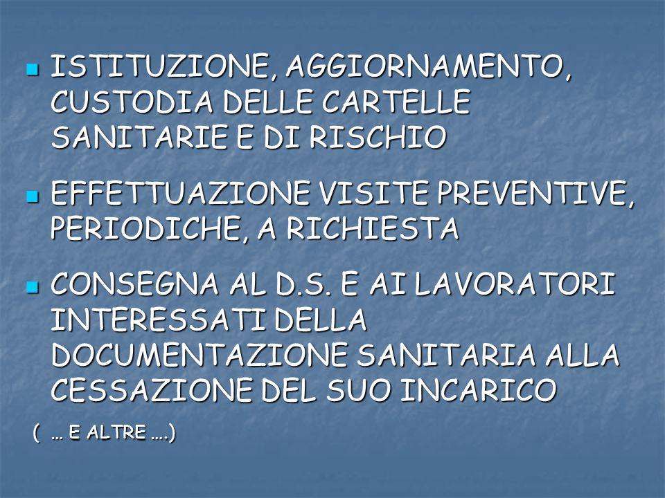 ISTITUZIONE, AGGIORNAMENTO, CUSTODIA DELLE CARTELLE SANITARIE E DI RISCHIO ISTITUZIONE, AGGIORNAMENTO, CUSTODIA DELLE CARTELLE SANITARIE E DI RISCHIO EFFETTUAZIONE VISITE PREVENTIVE, PERIODICHE, A RICHIESTA EFFETTUAZIONE VISITE PREVENTIVE, PERIODICHE, A RICHIESTA CONSEGNA AL D.S.