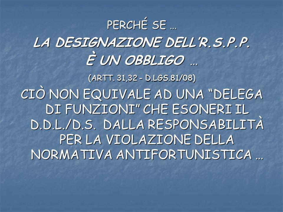 PERCHÉ SE … LA DESIGNAZIONE DELLR.S.P.P. È UN OBBLIGO … (ARTT.