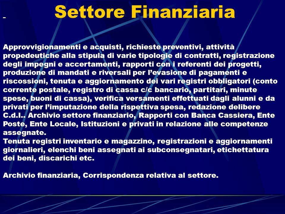 Settore Finanziaria Approvvigionamenti e acquisti, richieste preventivi, attività propedeutiche alla stipula di varie tipologie di contratti, registra
