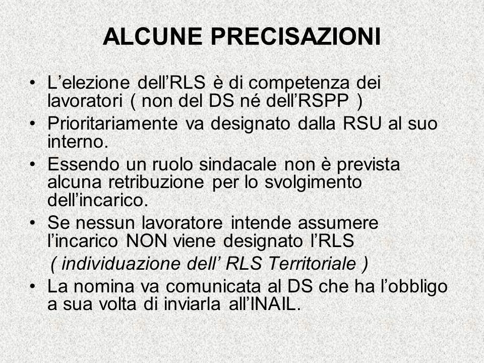 ALCUNE PRECISAZIONI Lelezione dellRLS è di competenza dei lavoratori ( non del DS né dellRSPP ) Prioritariamente va designato dalla RSU al suo interno