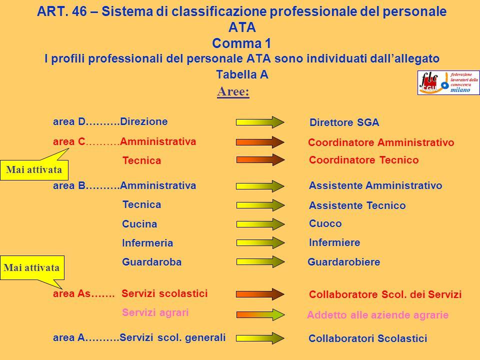 ART. 46 – Sistema di classificazione professionale del personale ATA Comma 1 I profili professionali del personale ATA sono individuati dallallegato T