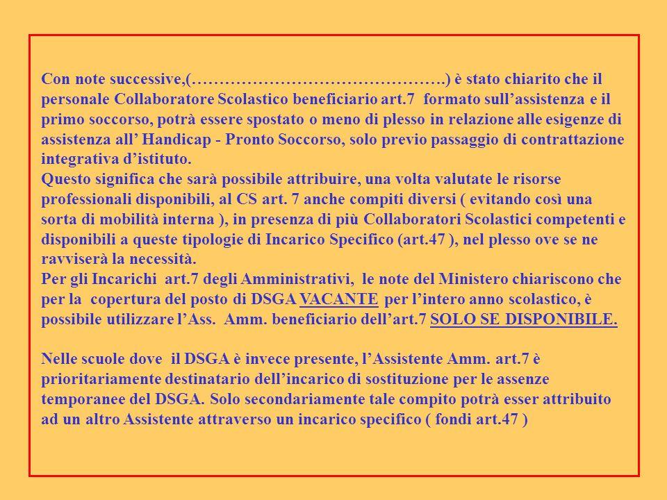 Con note successive,(……………………………………….) è stato chiarito che il personale Collaboratore Scolastico beneficiario art.7 formato sullassistenza e il primo