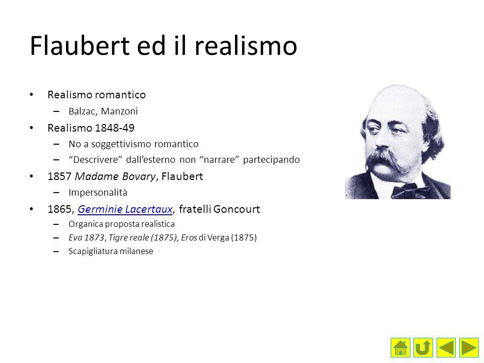 Flaubert ed il realismo Realismo romantico – Balzac, Manzoni Realismo 1848-49 – No a soggettivismo romantico – Descrivere dallesterno non narrare part