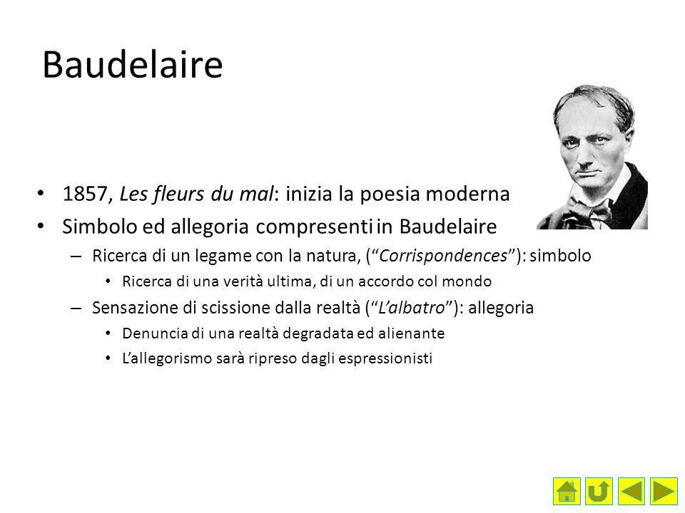Baudelaire 1857, Les fleurs du mal: inizia la poesia moderna Simbolo ed allegoria compresenti in Baudelaire – Ricerca di un legame con la natura, (Cor