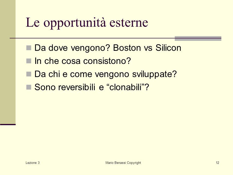 Lezione 3 Mario Benassi Copyright13 Strumenti di appropriabilità Per appropriabilità si intende la capacità dellimpresa di sfruttare i benefici derivanti dalla innovazione bloccando limitazione da parte dei concorrenti
