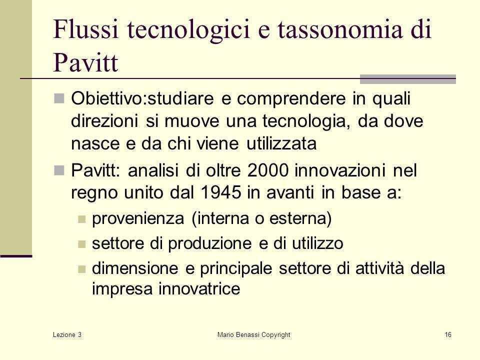 Lezione 3 Mario Benassi Copyright17 Tassonomia di Pavitt 1.