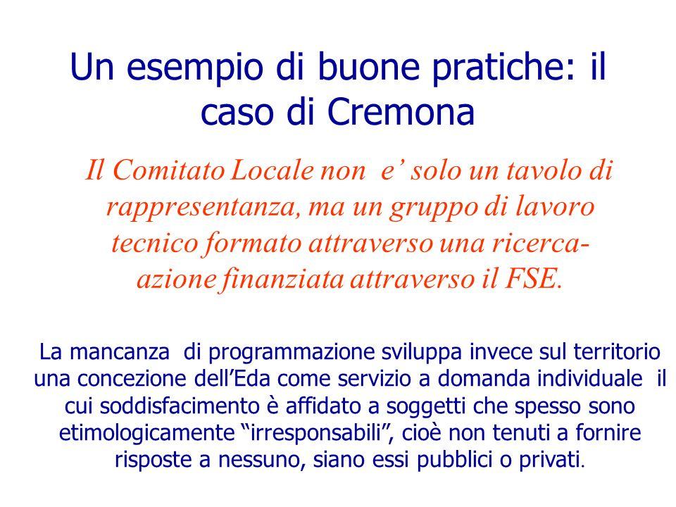 Un esempio di buone pratiche: il caso di Cremona Il Comitato Locale non e solo un tavolo di rappresentanza, ma un gruppo di lavoro tecnico formato att